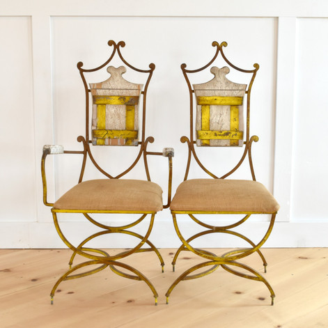 french iron chairs x 4