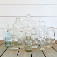 assorted clear bottles for floral  1.-2.  qty. 25