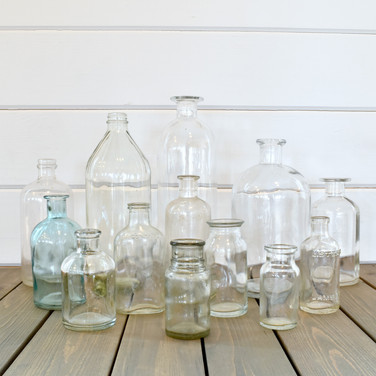assorted clear bottles