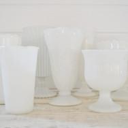 milk glass assorted vases  5. ea  qty. 7