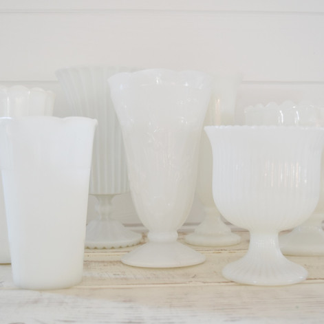 assorted milk glass vases  5.  qty. 8