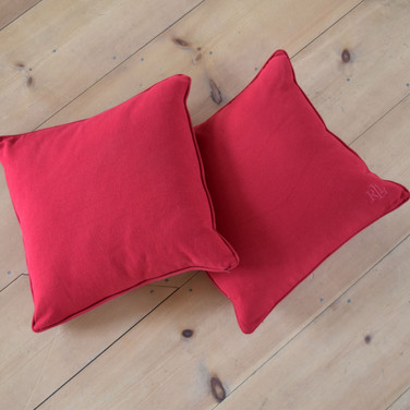 large red Ralph Lauren square pillows  qty. 2