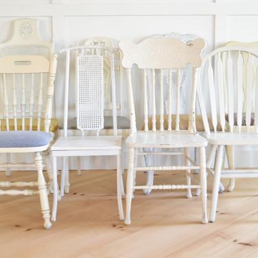 wood white mismatch chairs  5. ea  qty.