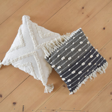 assorted fringe and tassel pillows  qty. 2