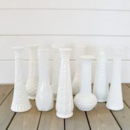 assorted milkglass budvases