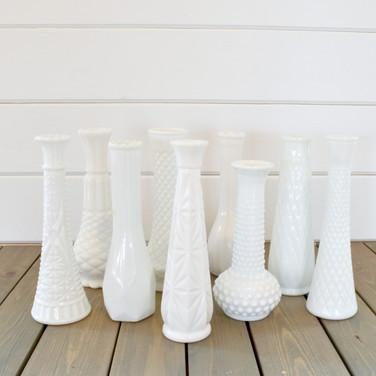 milkglass budvases  1. ea  qty. 40