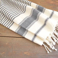 cotton blue and white throw with fringe edge  qty. 1