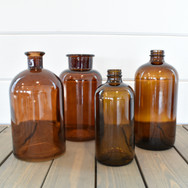 assorted brown bottles  1. sm 2. lg