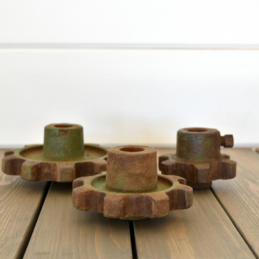 industrial cog candle holders  10. set of 3