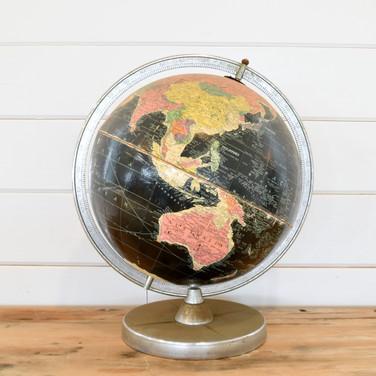 black vintage globe  12.  qty. 1