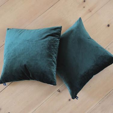 dark green velvet square pillows  qty. 2