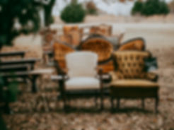 Fall outdoor wedding ceremony vintage seating