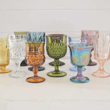mismatched colore glassware  1.50 ea  qty. 175