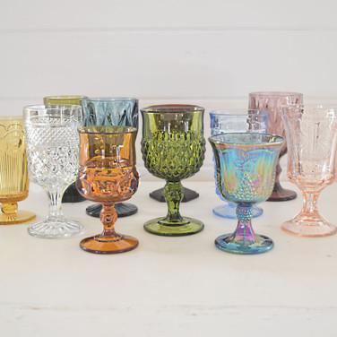 mismatched colore glassware  1.50 ea  qty. 175