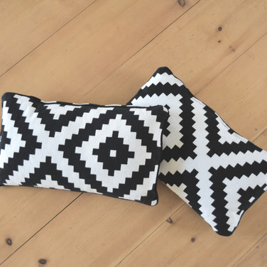 black and white rectangle pillows  qty. 2
