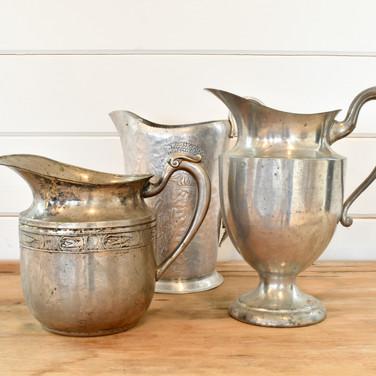 vintage aluminum water pitchers  4. ea  qty. 3