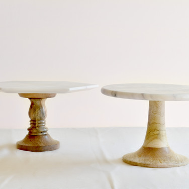 marble top cake stands  15. sm round top 20. med round top 20. sm hex top 25. med hex top