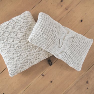 assorted knit pillows  qty. 3