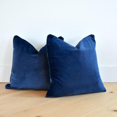 velvet navy pillows  10. ea  qty. 2