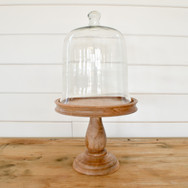 wood cake stand w/ cloche  15. stand only 25. stand with cloche