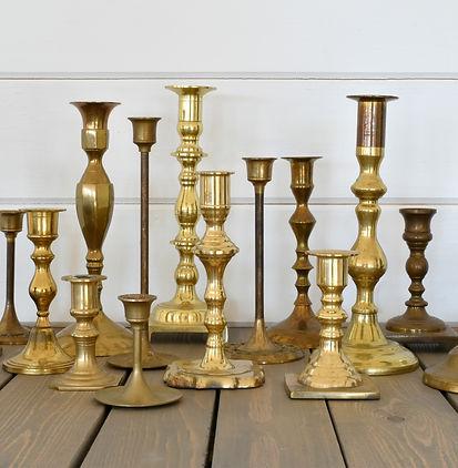 vintage rentals brass candlesticks