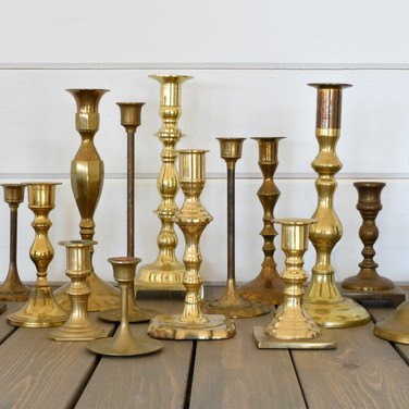assorted brass candlesticks  1.-3. ea  qty. 45