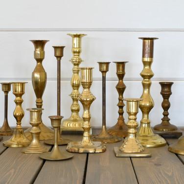 assorted brass candlesticks  1.-3. ea  qty. 45