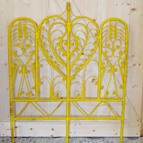 rattan yellow headboard  40.  qty. 1
