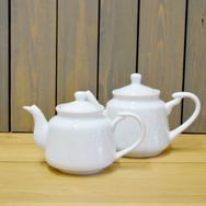 white teapots  2. ea  qty. 6 lg, 2 sm