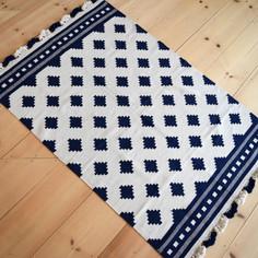 navy + natural fringe rug (4x6)