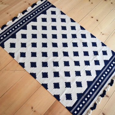 navy + natural 4x6 fringe rug  30.