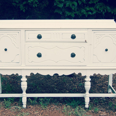 distressed white buffet  75.