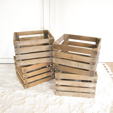 wood slat crates  qty. 4