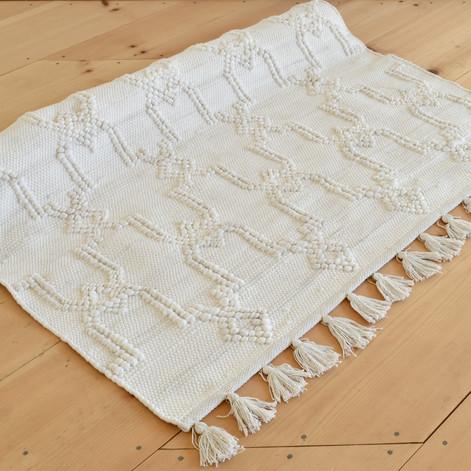 textured ivory fringe rug