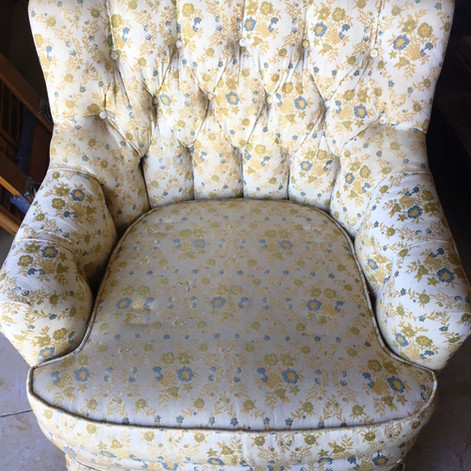 blue and cream floral chair