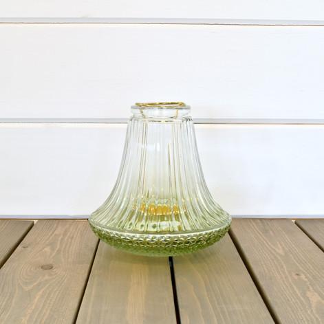 green glass tea light holder  2.  qty. 1