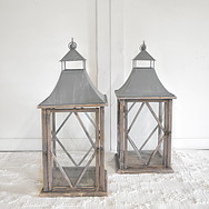 large galvanized farmhouse lanterns  qty. 2