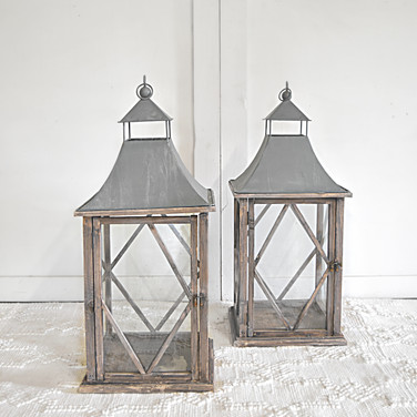 large galvanized farmhouse lanterns  qty. 2