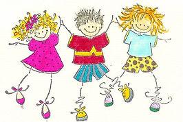 happy cartoon kids playing