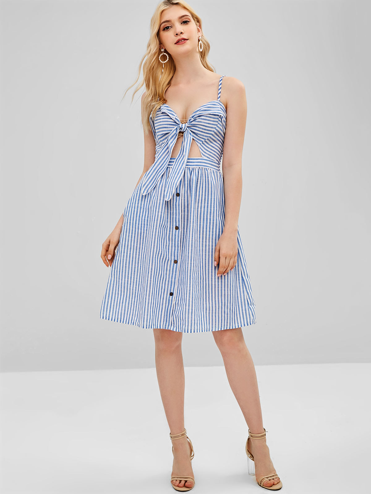 Striped Cami Tie Front Dress