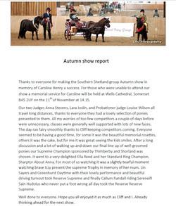 Autumn Show Report