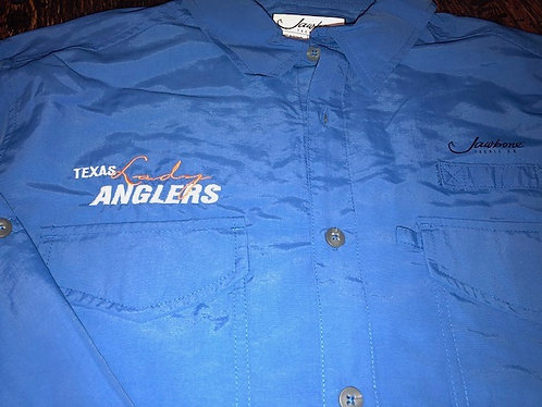 L/S Embroidered Fishing Shirt - Cobalt Blue