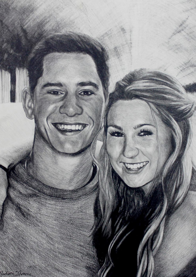 """Size: 18x24"""" Medium: Graphite, Charcoal Surface: White Paper  Commissioned work."""