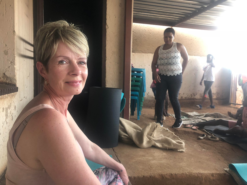 Yoga teacher Lynn Hinde visited the Life 4 U Foundation together with Hennops Blue Horizon. Photo: Supplied