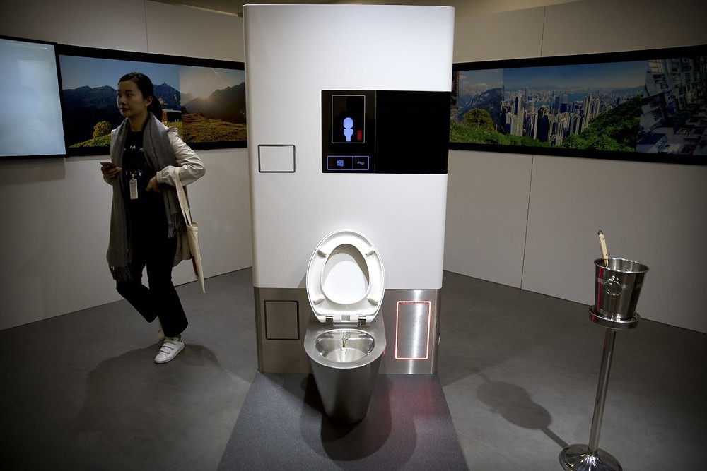 Helbling's self-contained toilet system. PHOTO: MARK SCHIEFELBEIN/ASSOCIATED PRESS
