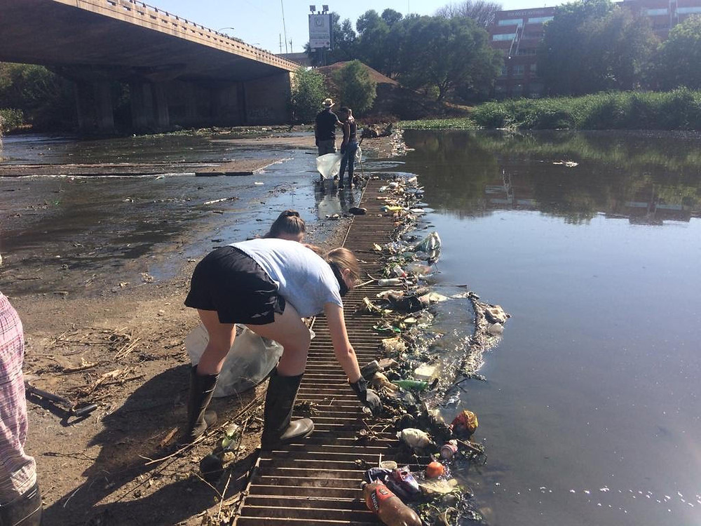 Trash accumulated in litter trap - Consistency is Key to saving the Hennops River