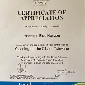 Hennops Blue Horizon received a Certificate of Appreciation for cleaning up the City of Tshwane