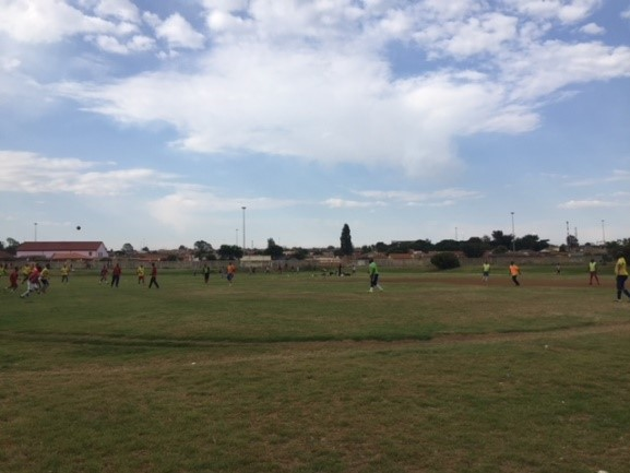 The Sedibeng Sports Park is used by residents from early in the morning, with residents playing soccer, jogging, exercising and using the outdoor gym equipment.