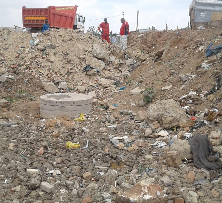 Hennops River Restoration and Clean Up Campaign - Building rubble dumped into wetland