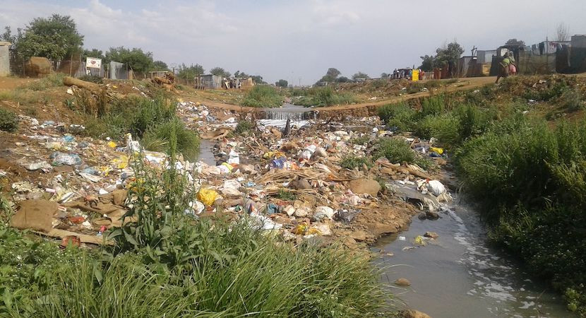 Rubbish dumping into stream in Ivory Park. Credit: Willem Snyman